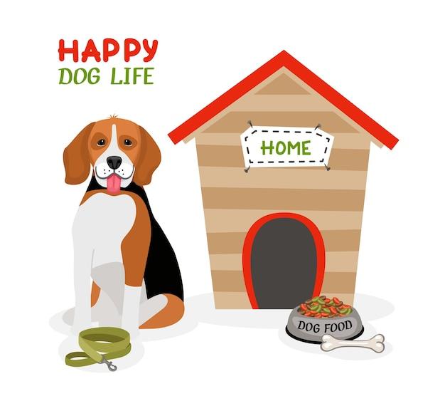 Diseño de cartel de vector happy dog life con un lindo beagle con la lengua afuera sentado frente a una caseta de perro con un hueso de plomo y un plato de comida