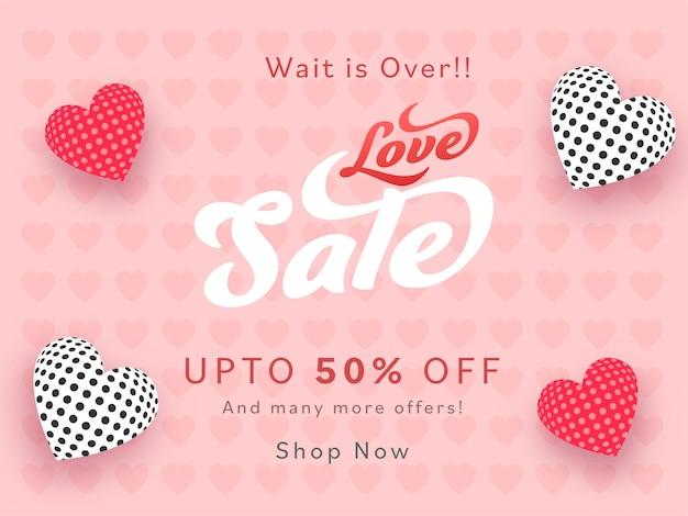 Diseño de cartel de venta de amor con oferta de 50% de descuento sobre fondo de patrón de corazones rosados.
