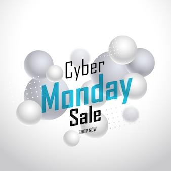 Diseño de cartel de venta cyber monday con bolas 3d