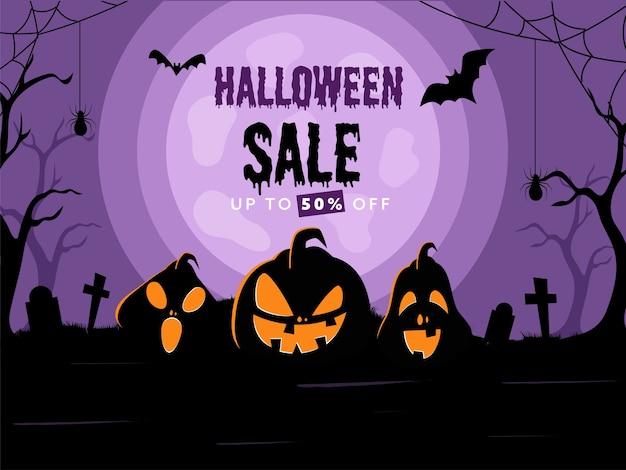 Diseño de cartel de venta de halloween con oferta de 50% de descuento