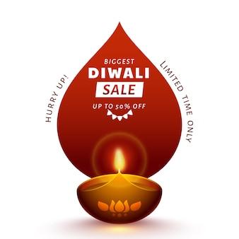 Diseño de cartel de venta más grande de diwali con oferta de 50% de descuento