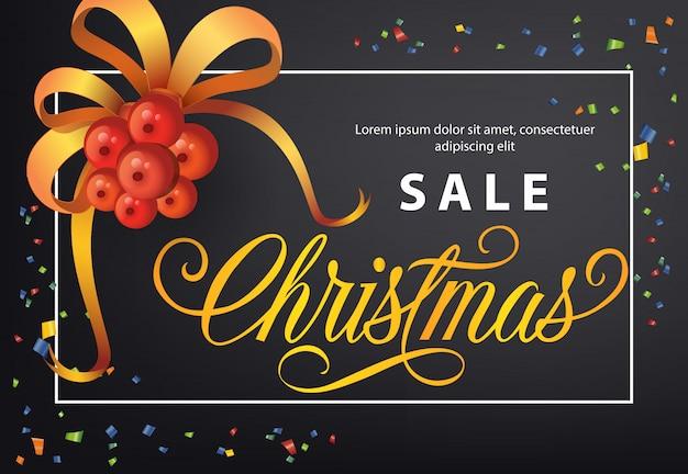 Diseño de cartel de venta de navidad. muérdago con lazo, confeti.