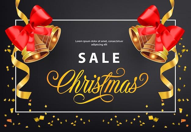 Diseño de cartel de venta de navidad. tintineos de oro con lazos rojos.