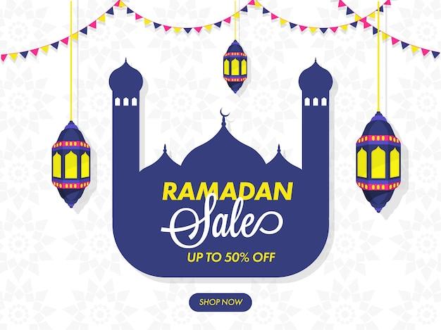 Diseño de cartel de venta de ramadán con oferta de 50% de descuento