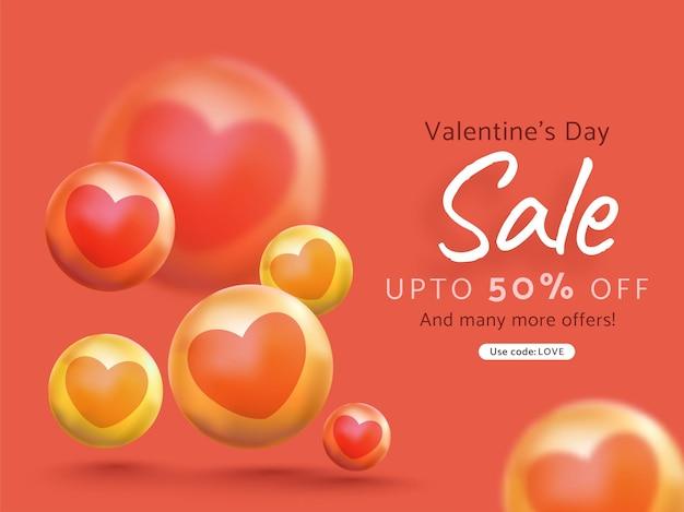 Diseño de cartel de venta de san valentín con oferta de 50% de descuento y bolas de corazón 3d sobre fondo rojo.