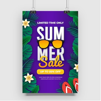 Diseño de cartel de venta de verano púrpura degradado
