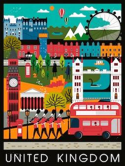 Diseño de cartel de viaje de reino unido llamativo en estilo plano