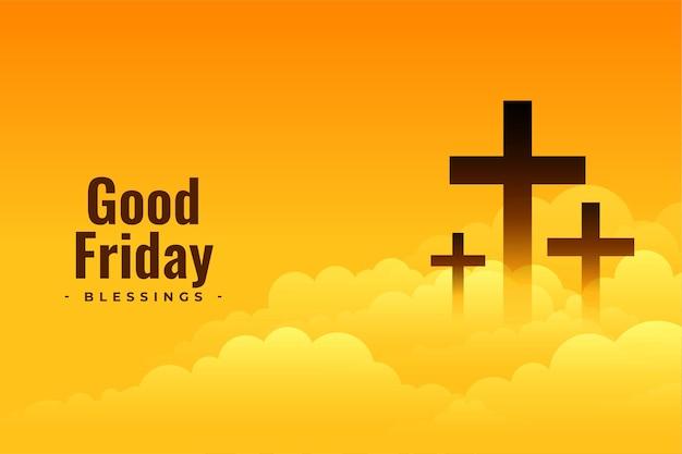 Diseño de cartel de viernes santo con cruz y nubes.