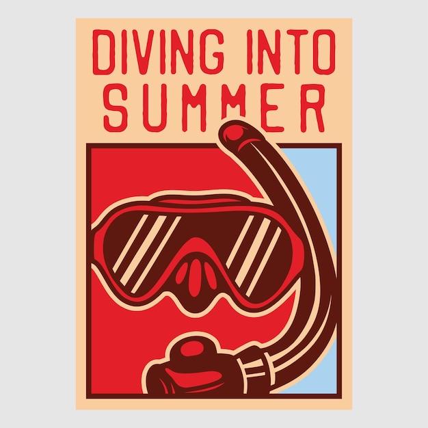 Diseño de cartel vintage buceando en ilustración retro de verano