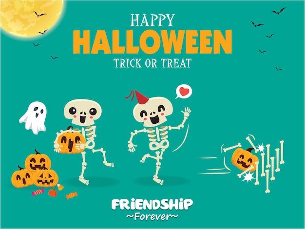 Diseño de cartel vintage de halloween con personaje de calabaza fantasma esqueleto de vector