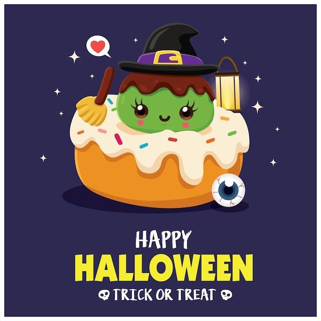 Diseño de cartel vintage de halloween con personaje de cupcake de bruja de vector