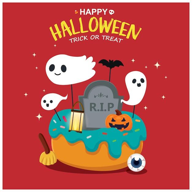 Diseño de cartel vintage de halloween con personaje de cupcake fantasma de calabaza de murciélago vectorial