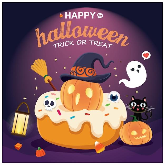Diseño de cartel vintage de halloween con personaje de cupcake de gato fantasma de calabaza de bruja de vector