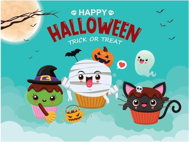 Diseño de cartel vintage de halloween con personaje de cupcake de gato fantasma de momia de bruja de vector