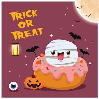 Diseño de cartel vintage de halloween con personaje de cupcake de momia de calabaza de murciélago de vector