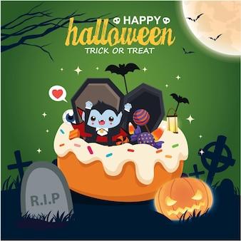 Diseño de cartel vintage de halloween con personaje de fantasma vampiro de vector