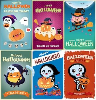 Diseño de cartel vintage de halloween con personaje de gato de murciélago esqueleto de reaper de bruja de vector