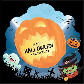 Diseño de cartel vintage de halloween con vector bruja jack o lantern fantasma cupcake personaje