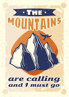 Diseño de cartel vintage con ilustración de montañas y un águila.
