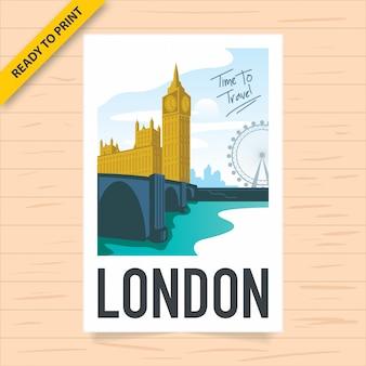 Un diseño de cartel vintage de londres con el big ben y la casa del parlamento con el horizonte de londres y el london eye en el fondo, visto desde el río támesis, cartel de estilo de película polaroid.