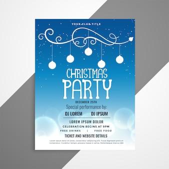 Diseño de cartel de volante de navidad azul con detalles del evento