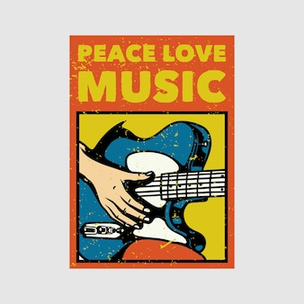 Diseño de carteles al aire libre paz amor música vintage ilustración