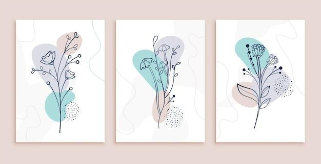 Diseño de carteles de arte de línea de flores y hojas abstractas minimalistas