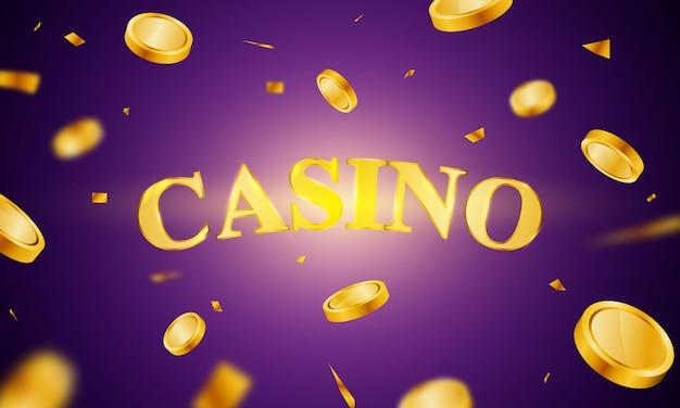 Diseño de carteles de casino con lujosas monedas de oro vectoriales