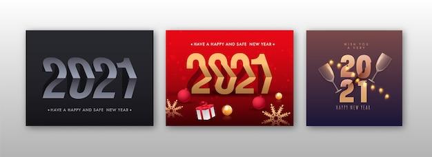 Diseño de carteles de celebración de año nuevo feliz y seguro 2021 en tres opciones de color