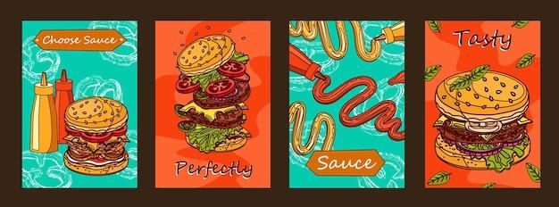 Diseño de carteles coloridos con hamburguesa y salsa.