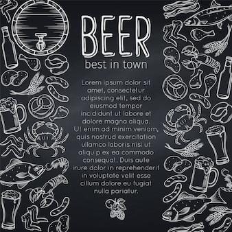 Diseño de carteles de comida y cerveza de pub.