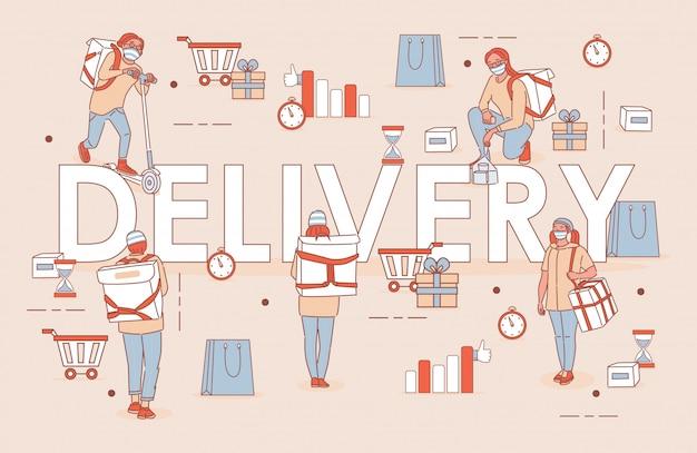 Diseño de carteles de contorno de dibujos animados de palabra de entrega. las personas con máscaras médicas entregan bienes o alimentos. entrega sin contacto durante el brote de coronavirus covid-19 y autoaislamiento.