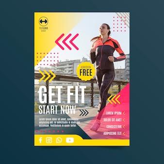 Diseño de carteles deportivos mujer corriendo