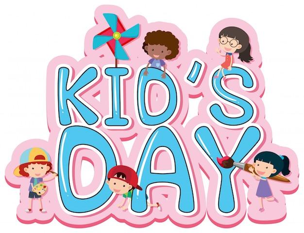 Diseño de carteles del día de los niños con niños felices