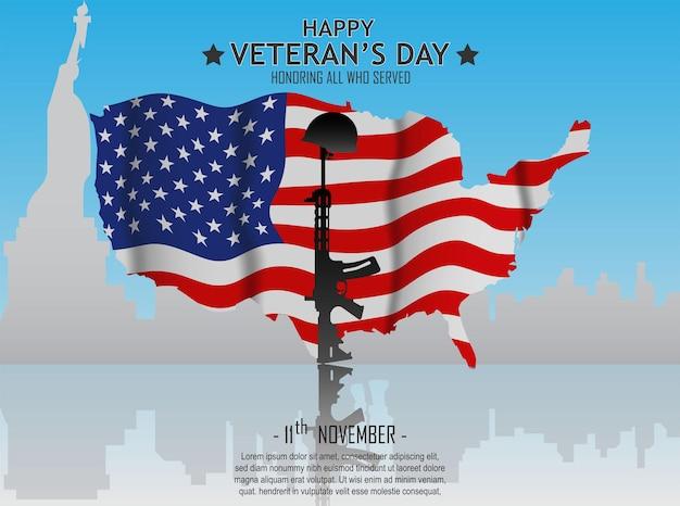 Diseño de carteles del día de los veteranos con bandera americana y silueta de ametralladoras y casco de soldados
