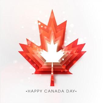Diseño de carteles del feliz día de canadá con capa de corte de papel rojo hoja de arce y efecto de luces bokeh