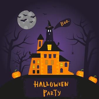 Diseño de carteles de feliz halloween con símbolos tradicionales y letras dibujadas a mano. la ilustración del vector se puede utilizar para el papel pintado, la página web, la tarjeta del día de fiesta, la invitación y el diseño del partido.