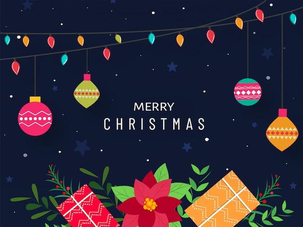 Diseño de carteles de feliz navidad con cajas de regalo, flor de nochebuena, iluminación colorida garland baubles colgando sobre fondo azul.