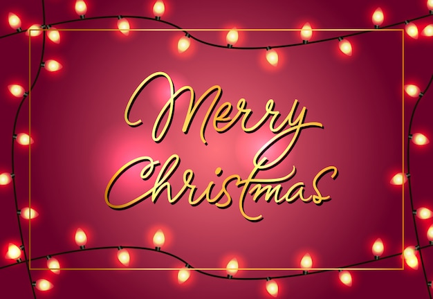 Diseño de carteles de feliz navidad. luces brillantes de navidad