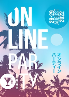 Diseño de carteles de fiesta online. plantilla de ilustraciones de flyer de fiesta de música de verano a4. cartel creativo del partido del fondo de la palmera. eventos como eventos musicales virtuales