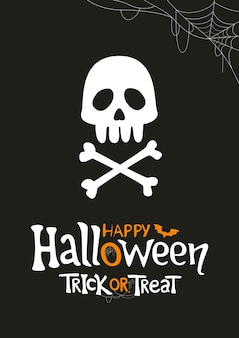 Diseño de carteles de halloween cráneo y huesos con letras