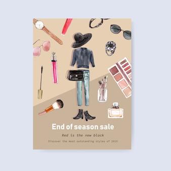 Diseño de carteles de moda con atuendo, ilustración acuarela de cosméticos.
