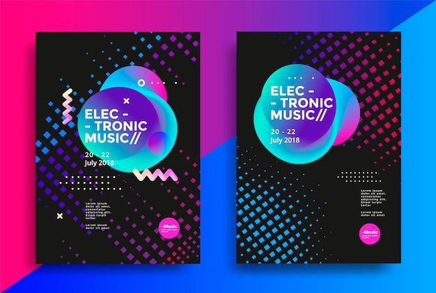 Diseño de carteles de música electrónica.