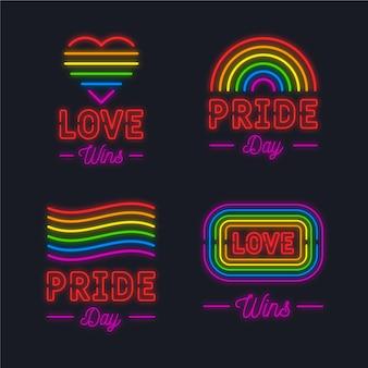 Diseño de carteles de neón de celebración del día del orgullo