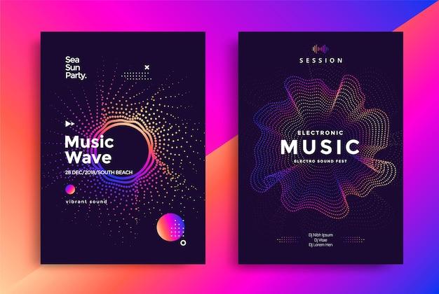Diseño de carteles de ondas de música electrónica. folleto de sonido con ondas punteadas de degradado abstracto.