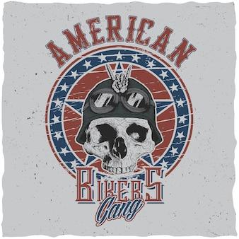 Diseño de carteles de pandillas de motociclistas estadounidenses con calavera en casco de motocicleta o ilustración de pañuelo