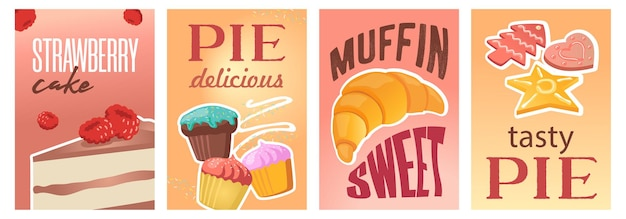 Diseño de carteles de pastel o pastel dulce