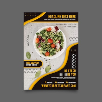 Diseño de carteles de restaurantes de comida sana