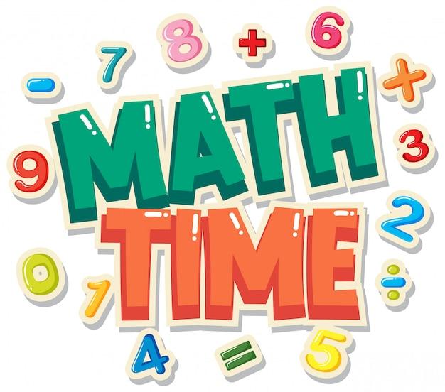 Diseño de carteles con tiempo de matemáticas de palabras con números en segundo plano.