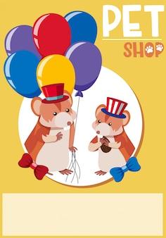 Diseño de carteles para tienda de mascotas con dos hámsters